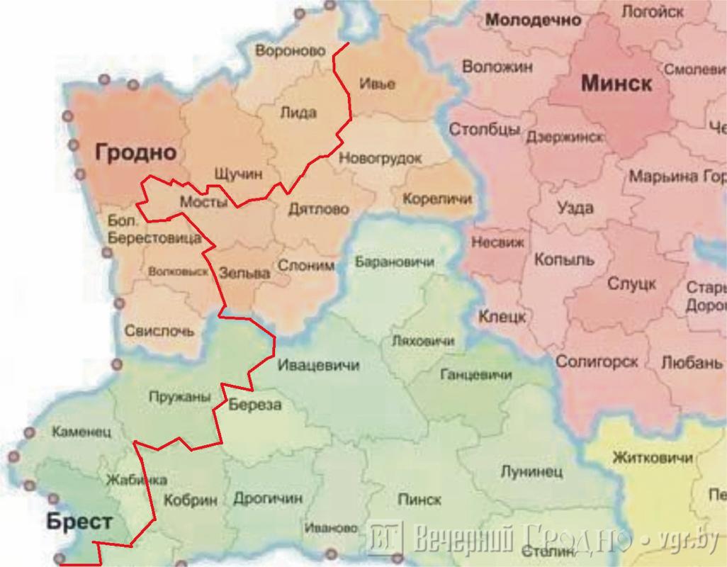 карта безвизовой зоны гродненской и брестской областей